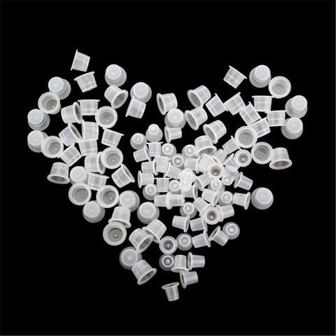 100Pcs Large and 100 Pcs Small Plastic Tattoo Ink Cups Supplies Machine Kit