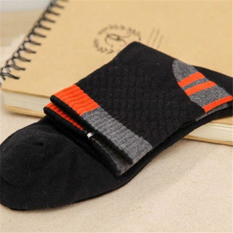 Men's Cotton Blend Soft Breathable Socks Sports Basketball Patchwork Multi Color Socks