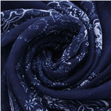 Navy Color Long Voile Stole Pashmina Soft Wrap Shawl Stripe Totem Chiffon Scarf