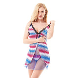 Women Sexy Open Front See Through Babydoll V Neck Mesh Temptation Nightdress