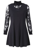 Elegant Lace Stand Collar Two-Piece Dress Long Sleeve For Women