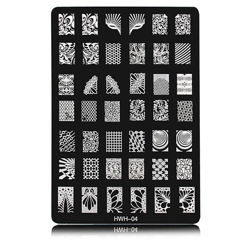 HWH-04 Nail Art Image Printing Steel Plate Polish Stamping Template DIY Tips Design
