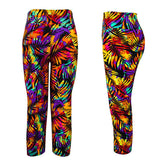 Women Sexy Colorful Printing Cropped Pants Elastic Sports Running Leggings Sportwear