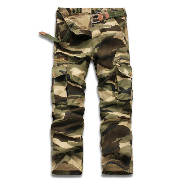 Outdoor Muti-Pockets Loose Camouflage Cargo Pants Casual Cotton Long Trousers For Men