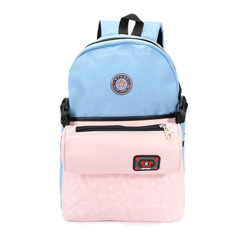 Contrast Color Women 2-Set Leather Canvas Backpack