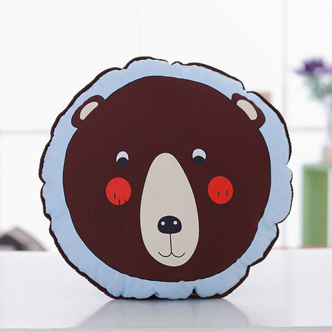 Round Animal Lion Penguin Brown Bear Throw Pillow Cotton Cloth Sofa Car Bed Cushion