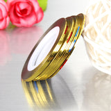 10Pcs Gold Silver Nail Art Tip Striping Tape Stickers Decoration DIY