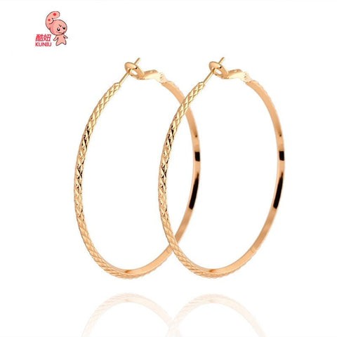 18k Gold Zircon Plated Hoop Earrings