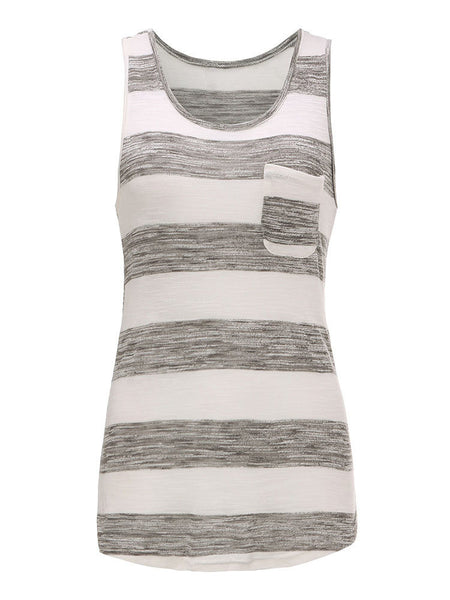 Women Sleeveless O Neck Pocket Stripe Knitting Vest Tank Top