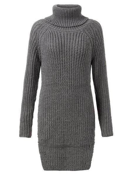 Loose Women Solid Turtleneck Long Sleeve Split Knitted Pullover Sweater