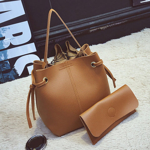 2 PCS Women PU Leather Bucket Bag Crossbody Bag Clutches Bags
