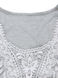 Casual Women Lace Patchwork Sleeveless High Low Vest