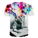 Men's Cool Unique Colorful Animal Graphic Pattern Brain Thinking 3D Printing T-Shirt