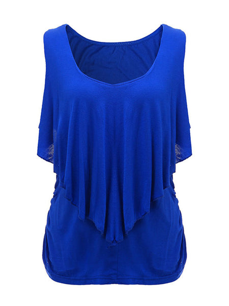 Women Sleeveless Ruffled Slim Vest Pure Color Tank Top For Women