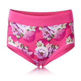 XL-3XL Women Milk Silk Collagen Peony Printing Panties Soft Mid Waist Briefs Underwear