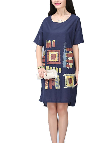 Women Round Neck Short Sleeve Abstract Printed Loose Linen Dress