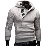 Men's Fall Winter Cool Design Hooded Side Zipper Casual Sports Hoodies