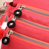Casual Waterproof Nylon Multi-Pocket Zipper Shoulder Bags Crossbody Bags
