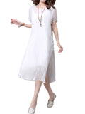 Women Vintage O-Neck Short Sleeve Two-Piece Casual Harness Side Loose Dress