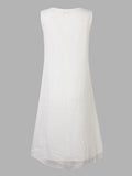 Women Sleeveless O Neck Ink Printing White Vintage Dress