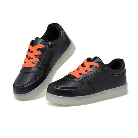 Children LED Light Sneakers PU Leather Kid Casual Shine Boys Girls Lace Sports Rubber Shoes
