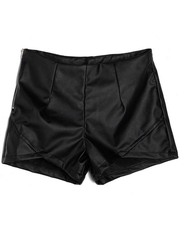Zipper Split PU Leather Brief High Waist Slim Solid Shorts
