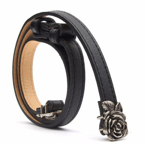 Women Adjustable Flower Leather Waist Strap Skinny Thin Buckle Belt