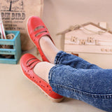 Leather Hollow Out Breathable Button Stripe Slip On Flat Casual Shoes