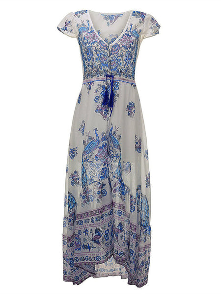Women Boho Short Sleeve V Neck Floral Printed Button Chiffon Maxi Dress