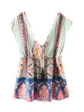 Women Sleeveless Deep V Neck Floral Printed Sexy Tank Top