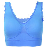 Women Sexy Lace Hem Sports Bra Breathable Wireless Yoga Vest Bras
