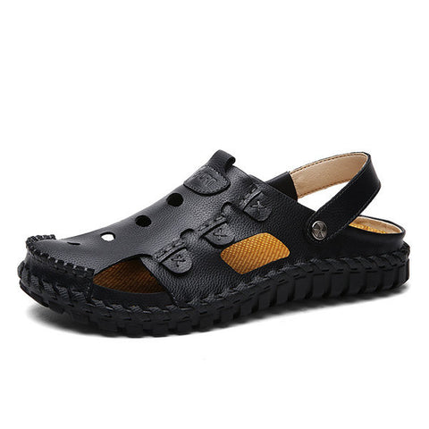 Men Button Hollow Out Slip On Breathable Flat Beach Sandals