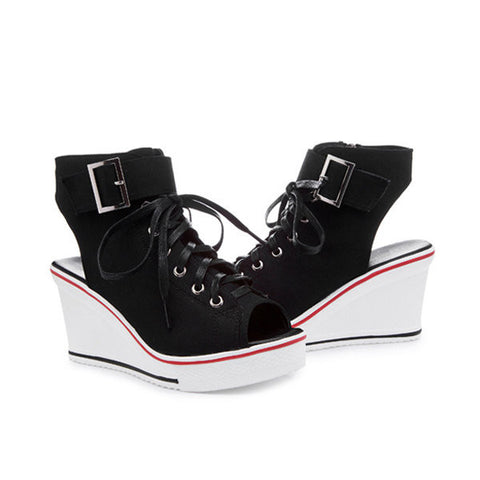 Big Size Canvas High Top Buckle Peep Toe Wedge Heel korean Style Casual Shoes