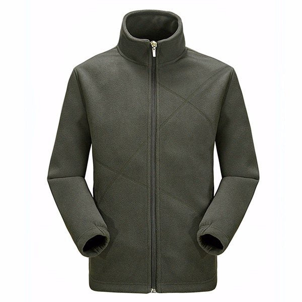 Men's poolar Fleece Lined Soft Warm Stand Collar Zipper Casual Jackets Outwears