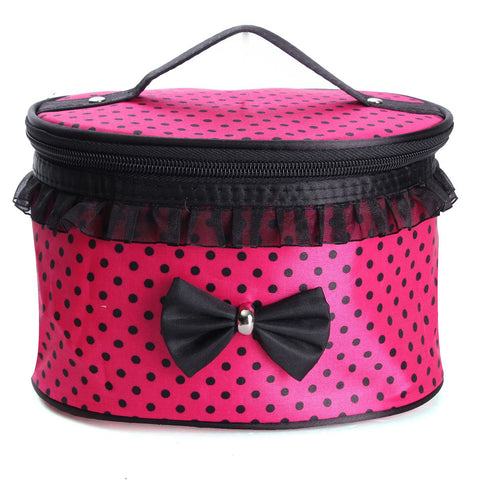 Compressible Waterproof Bow Cosmetic Bag Travel Toiletry Lovely Pink Handbag