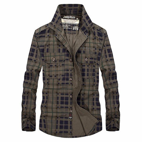 Jeep Rich Mens Large Size Long sleeved Plaid Loose Fit Cotton Casual Shirts