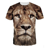 Mens Summer 3D Animal Lion Printing Top Tees Short Sleeved Casual T-shirts