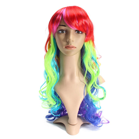 60cm Multicolor Mixed Color Wavy Curly Wig Women Cosplay Wigs