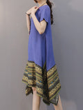 Vintage Women Printing Patchwork Asymmetric Linen Dress