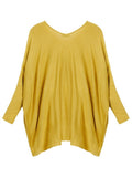 Casual Irregular Hem Loose Bat Sleeve O-Neck Sweater
