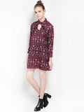 Vintage Sexy Floral Tie Neck Princess Sleeve Chiffon Mini Dress For Women