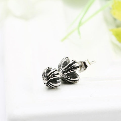 1pcs Rock Double Cruciferous Titanium Steel Earring