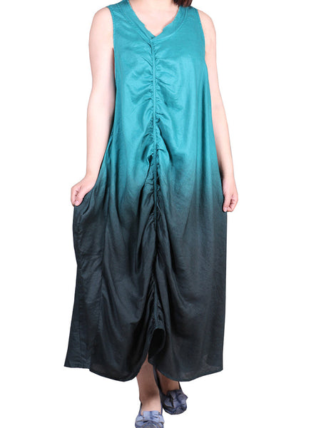 Loose Women Gradient Color Sleeveless Pleated High Low Linen Dress