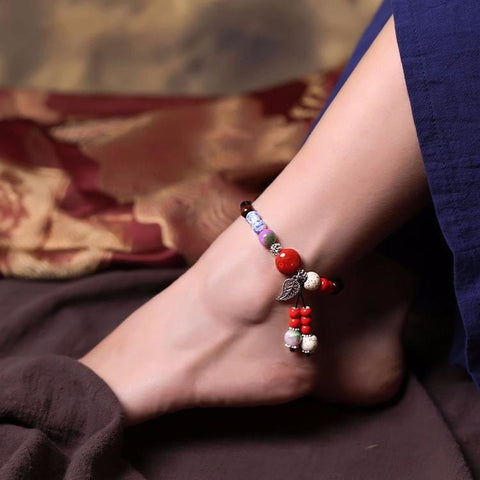 Chinese Style Ceramic Beads Anklet