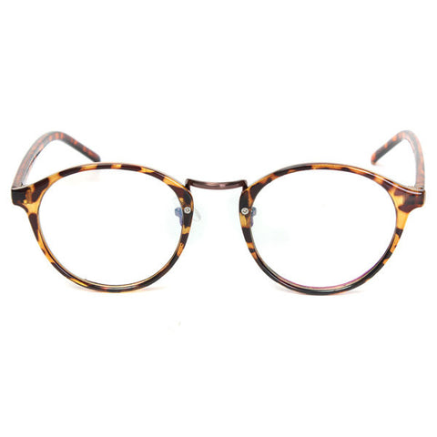 Men Women Vintage Clear Lens Eyeglasses Frame Retro Round Leopard Print Glasses
