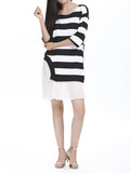 Women Round Neck Half Sleeve Chiffon Hem Stripe Mini Dress