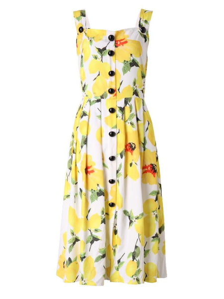 Women Strap Floral Printed Pleats Tunic Swing Dress Summer Slim Dress