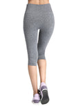 Women Solid Elastic Waist Fitness Sports Cropped Yoga Leggings