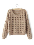 Fashion Hollow Hole Long Sleeve Round Collar Pullover Sweater