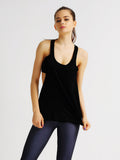 Women Backless Patchwork False Two-piece Sport Pure Color Tank Top